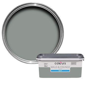 Colours Cool Slate Matt Emulsion Paint 2.5L