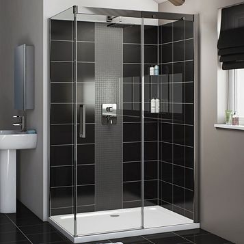Cooke & Lewis Carmony Rectangular RH Shower Enclosure, Tray & Waste Pack with Single Sliding Soft Close Door (W)1200mm (D)800mm