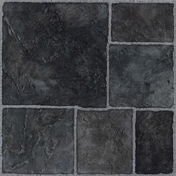 Colours Black Traditional Stone Effect Self Adhesive Vinyl Tile Pack 1.02 m²