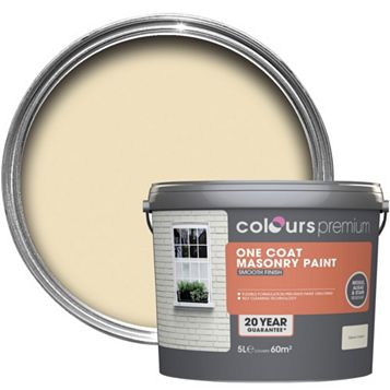 Colours Premium One Coat Devon Cream Smooth Masonry Paint 5L