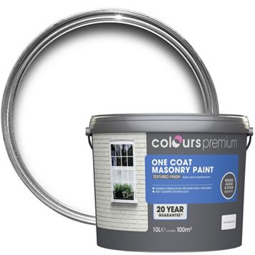 Colours Premium One Coat White Textured Masonry Paint 10L