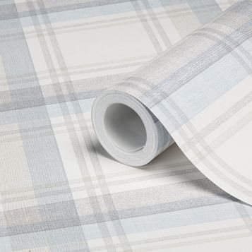 Hampton Duck Egg Checked Wallpaper