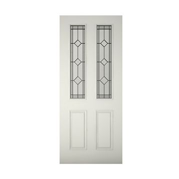 4 Panel Primed Timber Glazed External Front Door, (H)1981mm (W)762mm