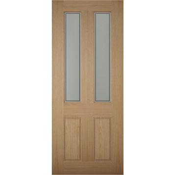 4 Panel White Oak Veneer Timber Glazed External Front Door, (H)1981mm (W)838mm