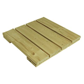 Softwood Deck Tile (W)495mm (L)495mm (T)50mm, Pack of 4