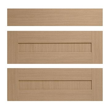 IT Kitchens Westleigh Textured Oak Effect Shaker Pan Drawer Front (W)800mm, Set of 3
