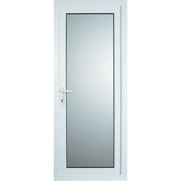 White PVCu Fully Glazed Back Door & Frame Lh, (H)2055mm (W)920mm