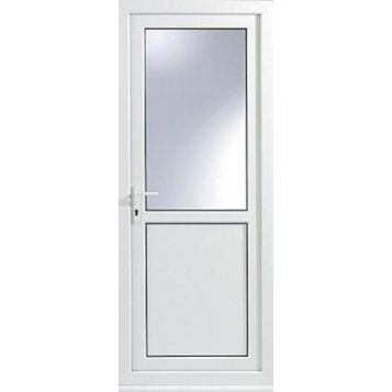 White pvcu half glazed back door frame rh h 2055mm w for Back door and frame set