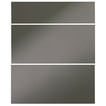 Cooke & Lewis Raffello High Gloss Anthracite Slab Drawer Front (W)600mm, Set of 3