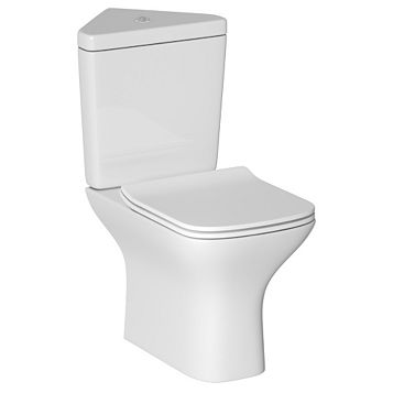 Cooke & Lewis Lanzo Contemporary Close-Coupled Corner Toilet with Soft Close Seat
