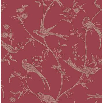 Alberta Red Floral with Birds Metallic Effect Wallpaper