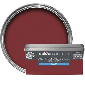 Colours Premium Classic Red Matt Emulsion Paint 2.5L