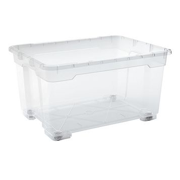 Form Flexi-Store Clear 140L Plastic Storage Box with Wheels