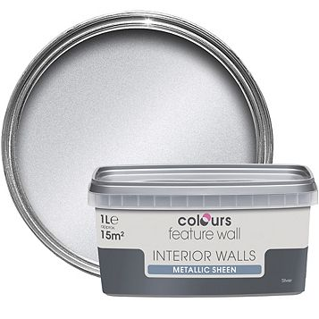 Colours Feature Wall Silver Effect Metallic Emulsion Paint 1L