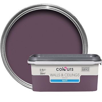Colours Blackcurrant Matt Emulsion Paint 2.5L