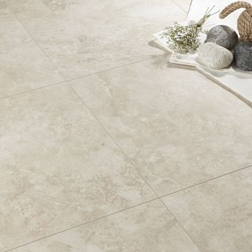 Tila Cream Travertine Tile Effect Laminate Flooring 1 m² Pack