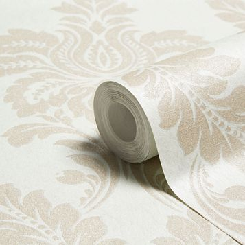 Majestic Duck Egg Damask Glitter Effect Wallpaper