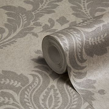 Majestic Grey Damask Glitter Effect Wallpaper