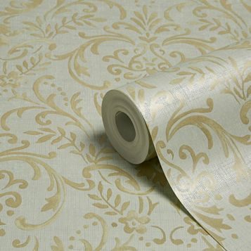 Prestige Duck Egg Damask Mica Wallpaper