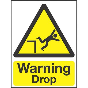 Plastic Warning Drop Sign (H)200mm (W)150mm