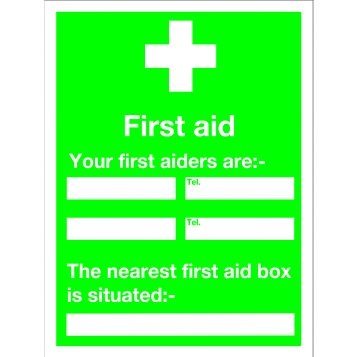 Plastic First Aid Sign (H)200mm (W)150mm