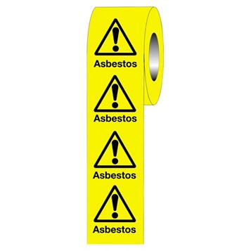 Warning Asbestos Adhesive Labels 50 mm x 50 mm