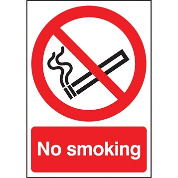 Durable 1.2mm Rigid Plastic No Smoking Sign x 210 mm
