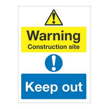 Durable 1.2mm Rigid Plastic Warning Construction Site Keep Out Sign x 400 mm