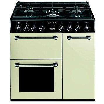 Smeg Kitchen Dual Fuel Cooker, Cream Steel & Glass