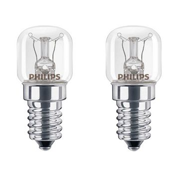 Philips Small Edison Screw Cap (E14) 15W Incandescent Appliance Light Bulb, Pack of 2