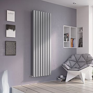 Ximax Vulkan Square Vertical Radiator Silver, (H)1800 mm (W)585mm
