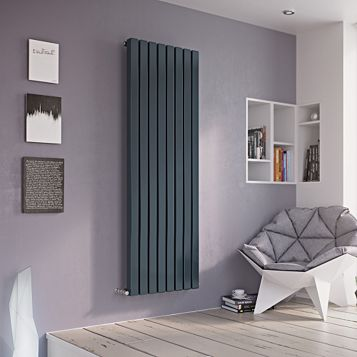 Ximax Vulkan Square Vertical Radiator Anthracite, (H)1800 mm (W)285mm
