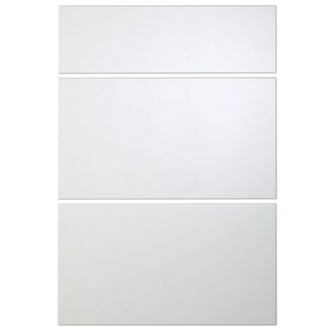 Cooke & Lewis Raffello High Gloss White Slab Drawer Front (W)500mm, Set of 3