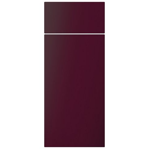 Cooke & Lewis Raffello High Gloss Aubergine Slab Drawerline Door & Drawer Front (W)300mm, Set of 1 Door & 1 Drawer Pack