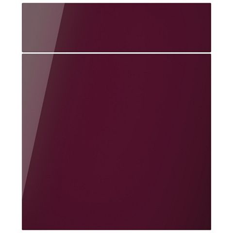 Cooke & Lewis Raffello High Gloss Aubergine Slab Drawerline Door & Drawer Front (W)600mm, Set of 1 Door & 1 Drawer Pack