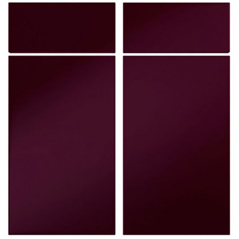Cooke & Lewis Raffello High Gloss Aubergine Slab Corner Base Drawerline Door (W)925mm, Set of 2