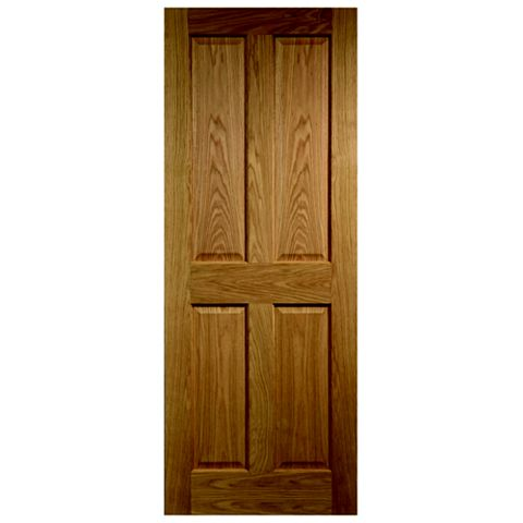 4 Panel Oak Veneer Internal Unglazed Door, (H)1981mm (W)610mm