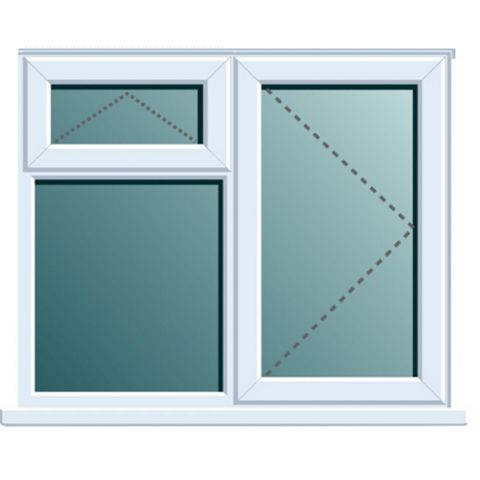 White PVCu RH Side Hung with Top Vent over Fixed Lite Window (H)970mm (W)1190mm