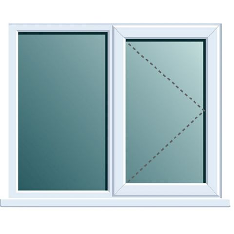 PVCu RH Side Hung with Fixed Lite Window 1120 x 1190 mm