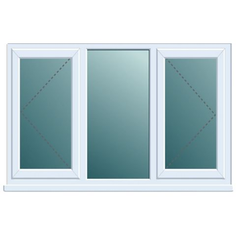 Frame One PVCu Double Side Hung with Centre Fixed Lite Window 970 x 1760 mm