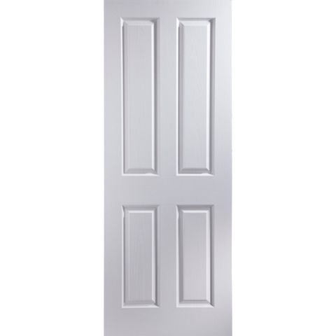 4 Panel Primed Woodgrain Internal Unglazed Door, (H)1981mm (W)762mm