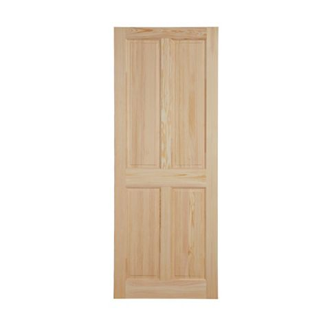 4 Panel Clear Pine Internal Unglazed Door, (H)2032mm (W)813mm