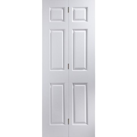 6 Panel Primed Woodgrain Effect Internal Bi-Fold Door, (H)1950mm (W)595mm