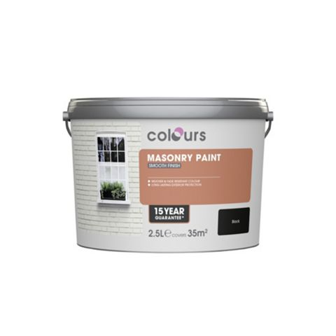 Colours Black Matt Masonry Paint 2500ml