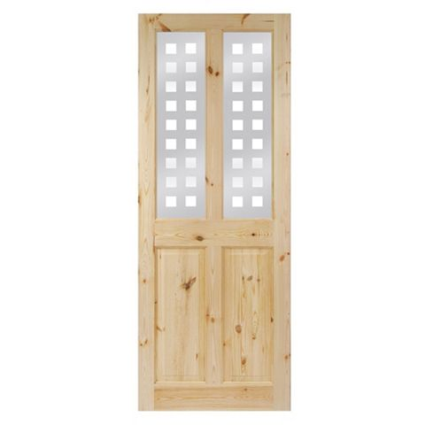 4 Panel Knotty Pine Glazed Internal Door, (H)1981mm (W)838mm