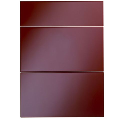 Cooke & Lewis Raffello High Gloss Red Slab Drawer Front (W)500mm, Set of 3