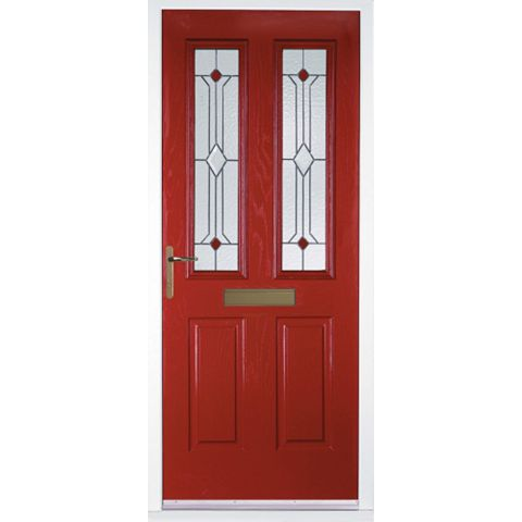 Kingston Red GRP 2 Panel Partially Glazed RH Front Door & Frame 2055 x 920 mm
