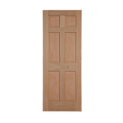 6 Panel Oak Veneer Internal Door, (H)1981mm (W)762mm