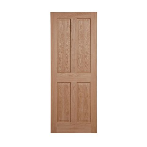4 Panel Oak Veneer Internal Unglazed Door, (H)1981mm (W)686mm