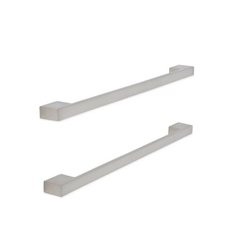 Brushed Nickel Effect Square Bar Furniture Handle, Pack of 2